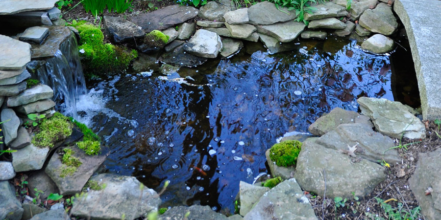 Mini Garden Pond with Stone Slab and Waterfall